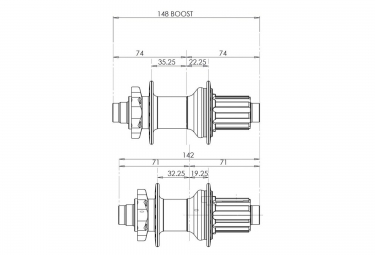 HOPE Moyeu Arrière PRO 2 EVO BOOST XD (11 vitesses) 148X12mm32 Trous Noir
