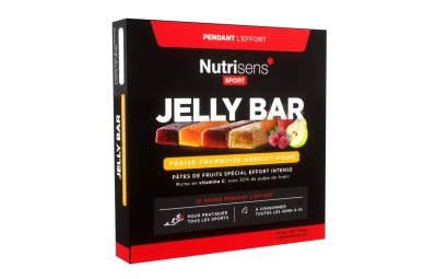 NUTRISENS Jalea de frutas JALEA BARRA 4x25g Albaricoque Fresa Frambuesa Pera