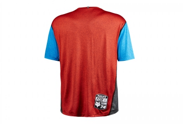 fox maillot manches courtes indicator heather bleu rouge xl