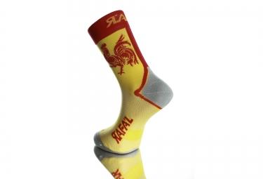 paire de chaussettes rafa l carbone new coq wallon jaune rouge 35 38
