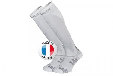 bv sport chaussettes de compression xlr blanc gris l