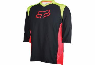 fox maillot manches 3 4 attack noir jaune rouge s