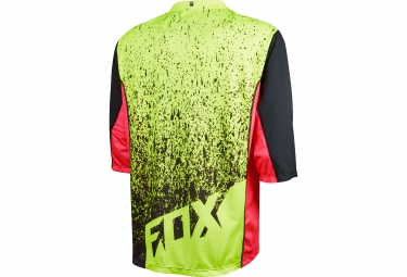FOX Maillot Manches 3/4 ATTACK Noir Jaune Rouge