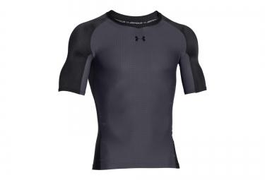 Under armour maillot de compression manches courtes clutchfit noir gris xl