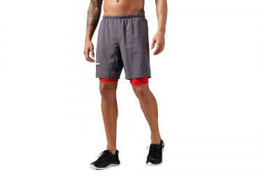 Short 2 en 1 reebok one series gris rouge xl