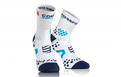 compressport paire de chaussettes pro racing socks v2 1 run blanc bleu 39 41