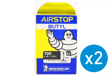 MICHELIN Pack de 2 Chambres à air BUTYL A1 700 x 18/25 Presta 52 mm
