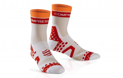 compressport paire de chaussettes pro racing socks ultra light bike blanc 35 38