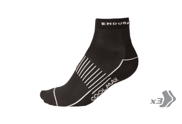 ENDURA Pack of 3 Pairs of Socks COOLMAX RACE II Black