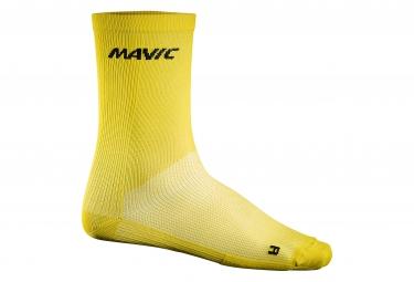 Mavic paire de chaussettes haute cosmic jaune 35 38