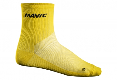 chaussettes mavic medium cosmic jaune 35 38