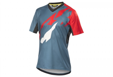 mavic maillot crossmax pro manches courtes bleu gris rouge s
