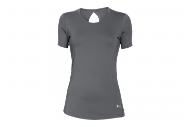 Under armour maillot manches courtes heatgear coolswitch gris femme l