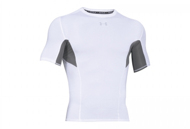 under armour maillot de compression manches courtes coolswitch blanc l
