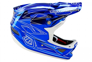 Casco Integral Troy Lee Designs D3 CARBON PINSTRIPE II Argent / Bleu