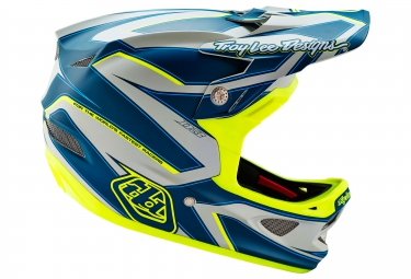 Casco Integral Troy Lee Designs D3 COMPOSITE REFLEX Bleu / Jaune