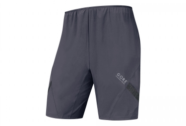 gore running wear short 2 en 1 air gris s