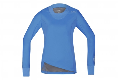 Gore running wear maillot manches longues sunlight lady windstopper bleu femme s