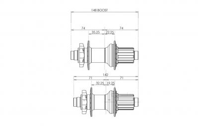 HOPE Moyeu Arrière PRO 4 BOOST 12x148 mm32 Trous Corps XD Noir