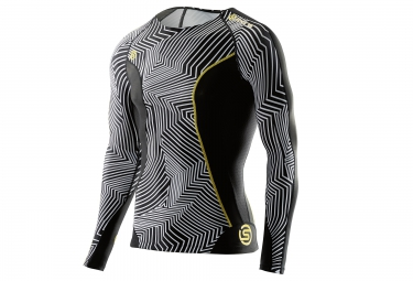 skins maillot manches longues dnamic noir blanc xl