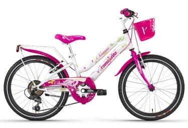 Vélo Enfant (Ville) Enfant Lombardo CREMONA 6v 20'' Blanc / Rose 6 à 9 ans