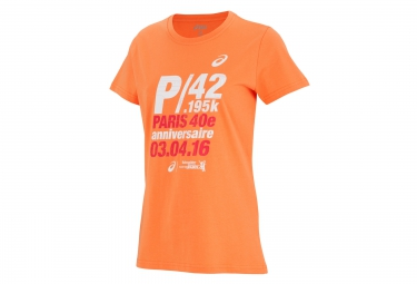 ASICS T-Shirt Printed Schneider Marathon de Paris Orange Women
