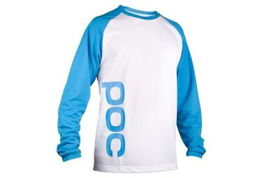 poc maillot manches longues flow blanc bleu xl