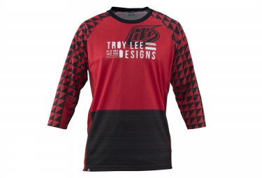 troy lee designs maillot manches 3 4 ruckus rouge noir s