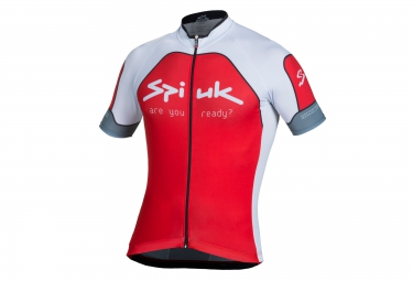 spiuk maillot manches courtes performance rouge blanc xl
