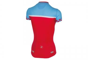 castelli maillot manches courtes femme duello rouge bleu xs