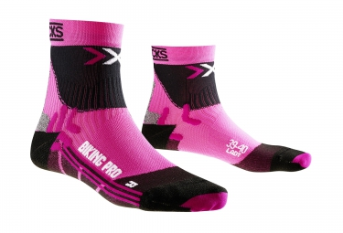 X socks chaussettes de compression bike pro lady rose 35 36