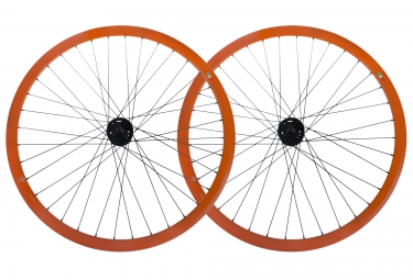 Gipiemme paire de roues pista fixed 700c orange