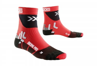 x socks chaussettes de compression bike pro rouge noir 45 47