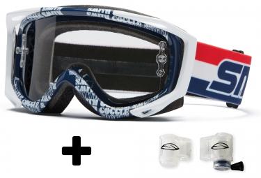 Masque Smith FUEL V2 SWEAT X DR BOB clear white/blue
