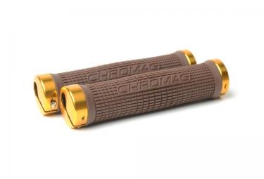 Chromag poignees lock on square wave 142mm marron