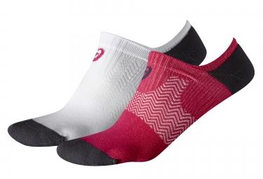 2 paire de chaussettes asics invisible blanc rouge 39 42