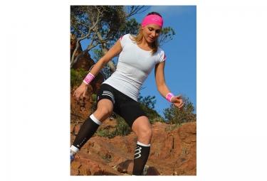 maillot de trail femme compressport trail shirt v2 blanc rose xs