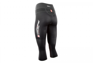 Collant 3/4 Femme COMPRESSPORT TRAIL PIRATE Noir