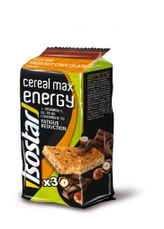 isostar barre energetique cereal max noisette chocolat 3x55g