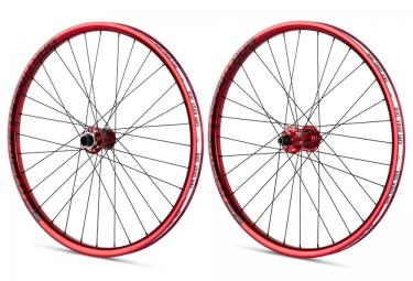 paire de roues vtt dartmoor shield 26 axe 20mm 10x135mm rouge