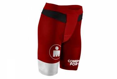 Short COMPRESSPORT IRONMAN TR3 BRUTAL TRI COMP Stripes Rouge Blanc