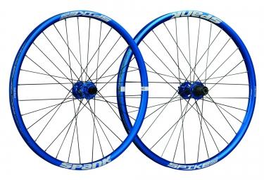 paire de roues spank spike race 33 bead bite 27 5 av 20x110mm ar 12x150mm bleu