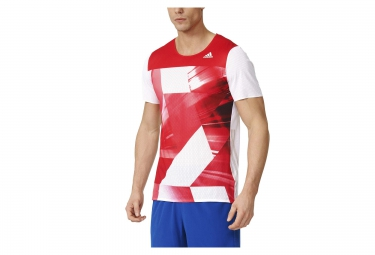 maillot manches courtes adidas adizero rouge blanc xl