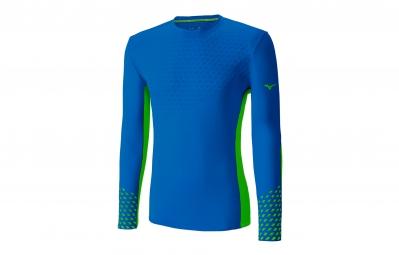 t shirt manches longues mizuno premium aero bleu s