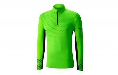 T shirt manches longues mizuno premium aero zip vert l