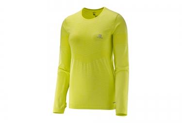 T Shirt manches longues Femme SALOMON ELEVATE SEAMLESS jaune