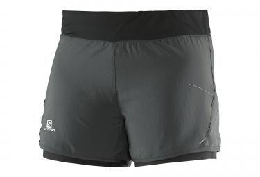short running femme salomon park 2in1 short gris noir xs