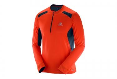T Shirt Homme SALOMON FAST WING Manches Longues Orange/Bleu