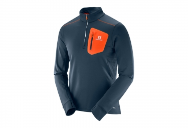 T Shirt Manches Longues Homme SALOMON TRAIL RUNNER WARM MID Bleu/Orange