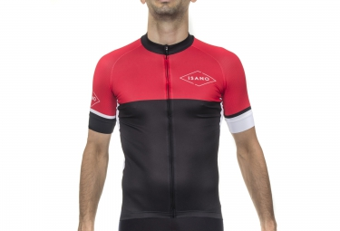 maillot manches courtes isano galibier noir rouge xl